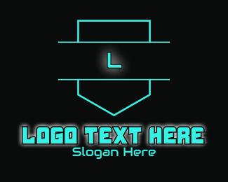Gamer Girl - Blue Neon Futuristic Glowing Lettermark logo design