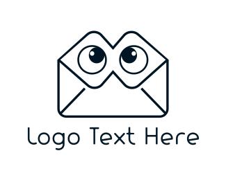 Mailbox - Envelope Eyes logo design