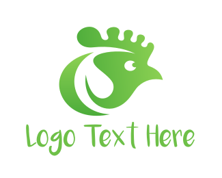 Green And White - Green Chicken logo design