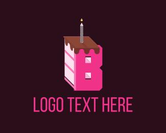 Birthday - Letter B Cake logo design