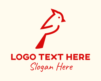 Woodpecker - Red Cardinal Bird  logo design