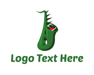 Green Dragon - Monster Saxophone logo design
