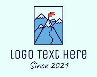 Trekking - Mountain Summit Peak Flag logo design