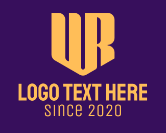 Typography - Golden U & R Shield Monogram logo design