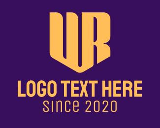 Typography - Golden U & R Shield Monogram logo design