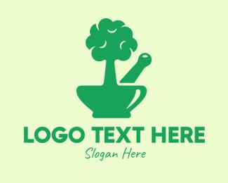 Bonsai - Green Tree Mortar & Pestle logo design