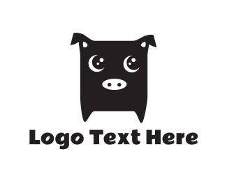 Pork - Cute Black Pig logo design