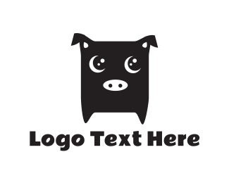 Farm - Cute Black Pig logo design