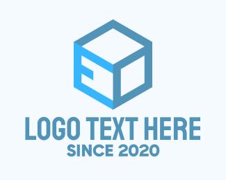 Cardboard - Blue Cube Box Letter E logo design