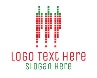Pixel - 3 Digital Chilis logo design