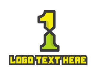 Gaming - Modern Green Number 1 logo design