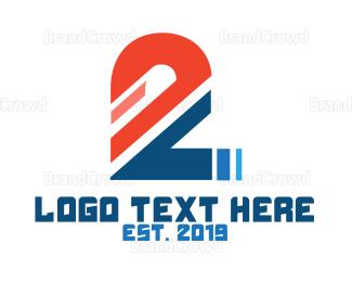 Drag Racing - Sliced Number 2 logo design