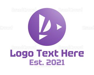 Video Player - Purple D Player logo design