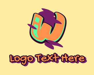 Beatbox - Graffiti Art Letter W logo design