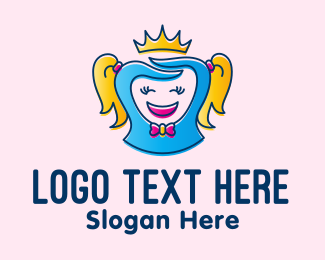 Cartoon - Happy Cartoon Princess logo design