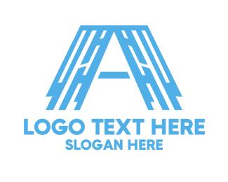 Professional Service - Industrial Blue Letter A logo design