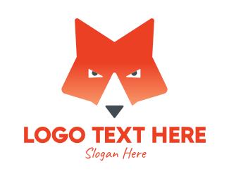 Orange Fox - Gradient Fox Face  logo design