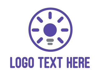 Flashlight - Violet Light Bulb logo design