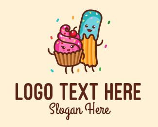 Dessert Shop - Birthday Cupcake Churro Dessert logo design