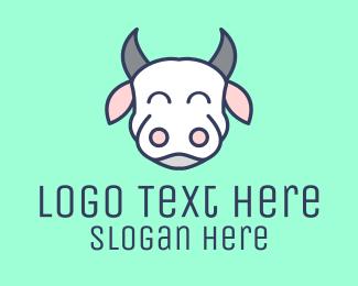 Dairy Farm - Happy White Cow logo design