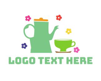 Teapot - Floral Tea logo design