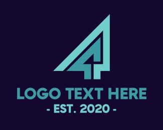 Geometrical - Geometric Number 4 logo design
