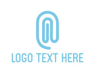 At - Blue Paper Clip logo design
