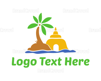 Buddhism - Ancient Shrine  logo design