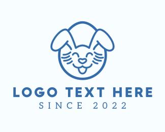 Ears - Blue Happy Easter Bunny logo design