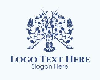 Shrimp - Floral Lobster logo design