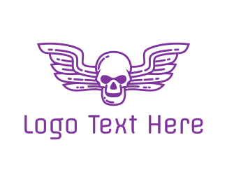 Zombie - Skull Wing Outline logo design