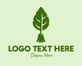 Sweeping - Nature Leaf Broom logo design