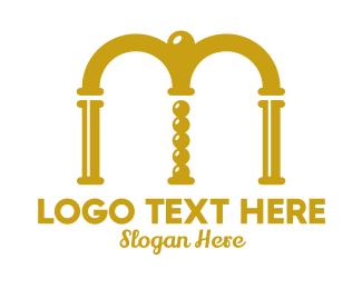 Event Organizer - Gold Letter M Arch logo design