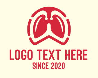 Lung Cancer - Red Respiratory Lungs logo design