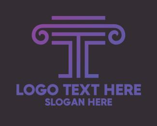 Letter T - Letter T Pillar logo design