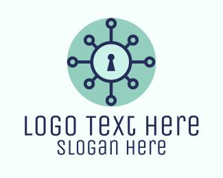 Keyhole - Blue Keyhole Virus logo design