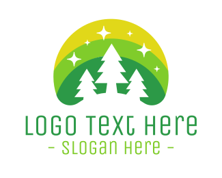 Green Mountain - Green Pine Tree Forest logo design
