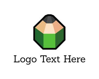 3d - Green 3D Pencil logo design