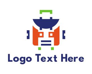 Suitcase - Robot Suitcase logo design