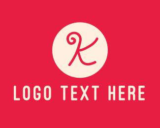 Initial - Pink Handwritten Letter K logo design