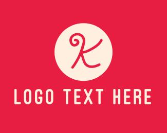 Pink Handwritten Letter K Logo