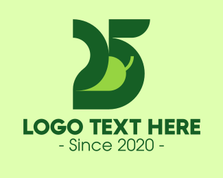 Orange Vegetable - Green Vegetable Number 25 logo design