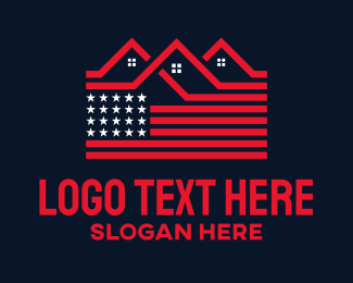 Property Sales - American Flag Homes logo design