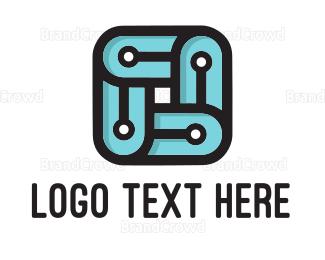 Memorable - Square Circuit  logo design