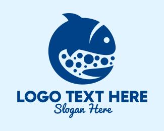Swimming - Blue Swimming Fish logo design