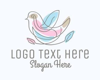 Leaves - Minimalist Bird Leaves logo design