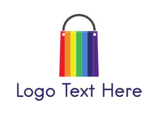 Shopify - Rainbow Shopping Bag logo design