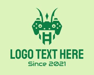 Mantis - Green Mantis Game  logo design