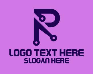 Technical - Tech Blue Letter P logo design