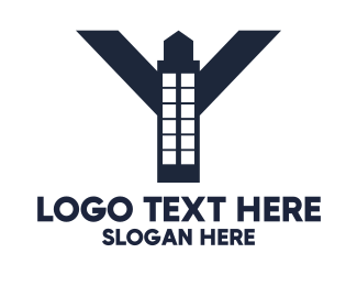 Blue Tower - Industrial Letter Y Tower logo design
